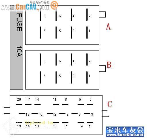 宝来前置6蝶cd的接线问题 汽车影音网论坛 汽车音响改装升高清图片