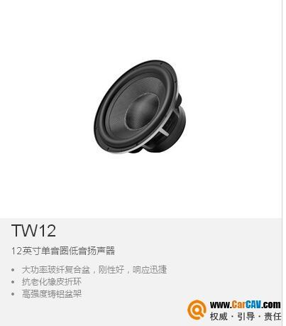 中国IMMORTAL音麦图TW12车载12英寸单音圈低音扬声器