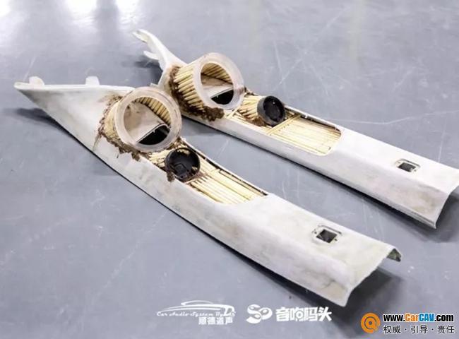 众泰大迈X5汽车音响改装A柱三分频倒模造型工艺