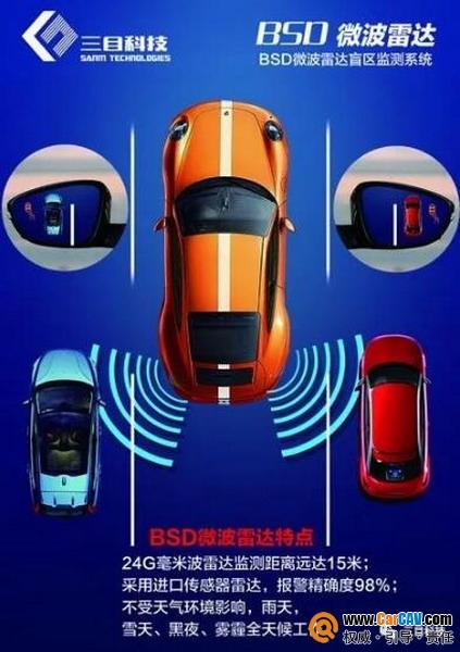 行车变道左右盲区辅助 三目科技BSD微波雷达监测预警系统