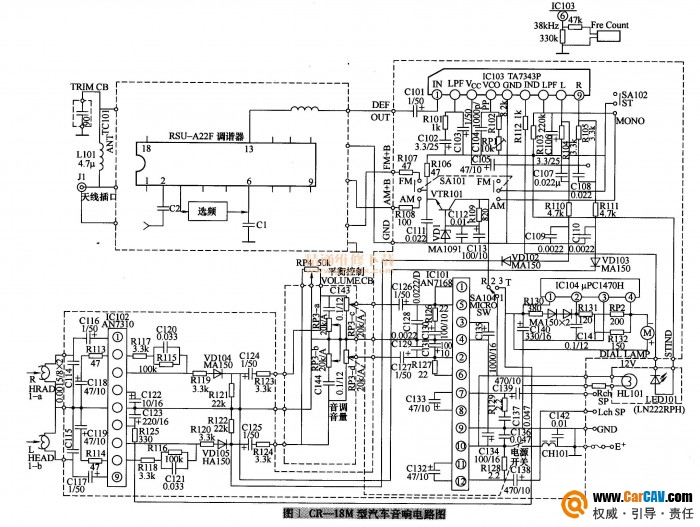 CR-18M型汽车音响AM波段收音无声故障处理