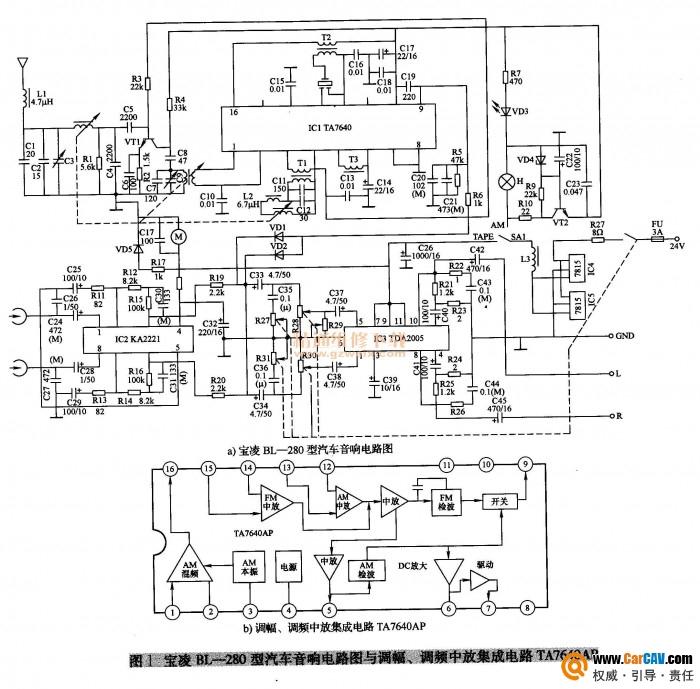 宝凌BL-280型汽车音响收音声小且噪声大故障处理